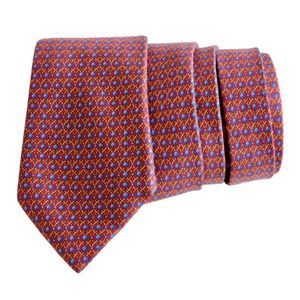 Hermes Silk Neck Tie Abstract Rope Print 7242 MA